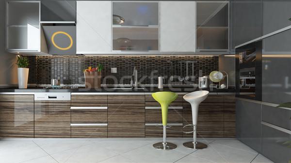 Modern mutfak iç dizayn siyah seramik ahşap Stok fotoğraf © sedatseven