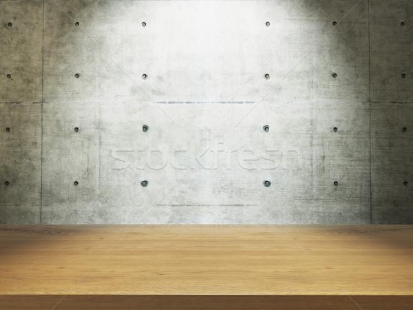 Ahşap büro beton duvar boş yukarı Stok fotoğraf © sedatseven