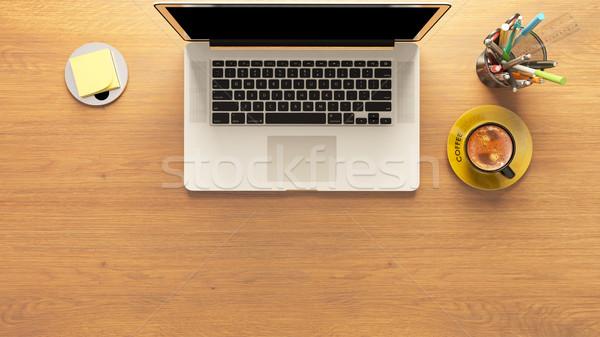 Stockfoto: Laptop · koffie · potlood · vak · post-it · bureau
