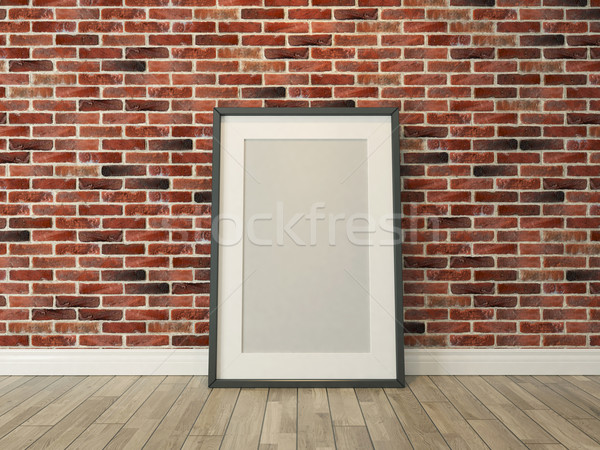picture frame on the brick wall and wood floor Stock photo © sedatseven