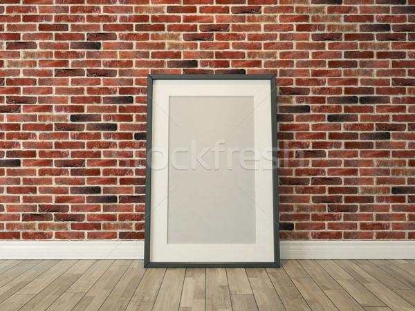 Resim çerçevesi tuğla duvar ahşap zemin resim şablon reklam Stok fotoğraf © sedatseven