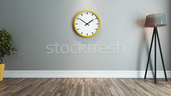living room interior design idea with big yellow watch Stock photo © sedatseven