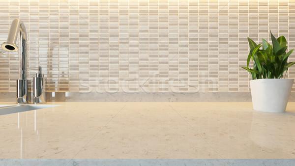 white ceramic modern kitchen design background with kitchen marb Stock photo © sedatseven