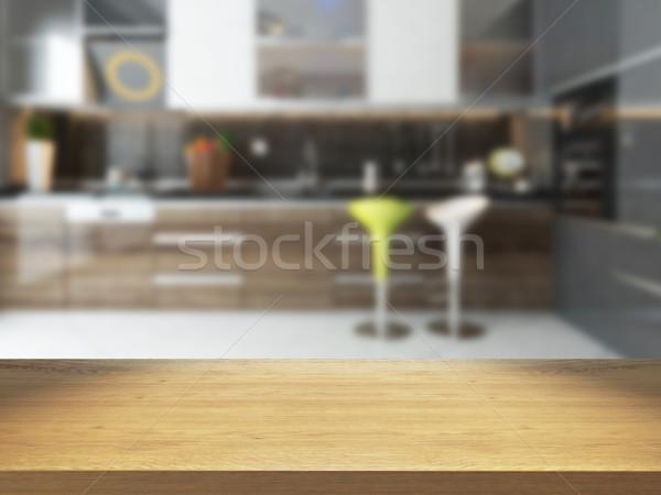 empty wooden desk with blurred kitchen background Stock photo © sedatseven