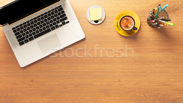 laptop and coffee with pencil box and post it on desk top view Stock photo © sedatseven
