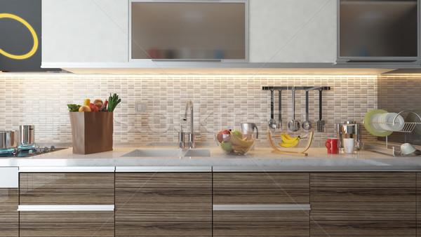 Moderne keuken interieur ontwerp witte keramische muur Stockfoto © sedatseven