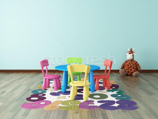 Stock foto: Vorschule · Kinder · Zimmer · farbenreich · Tabelle · Stuhl