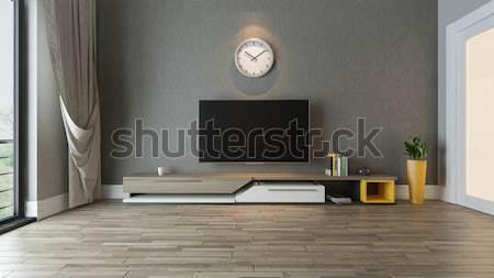 Tv durmak oturma odası fikir bitki Stok fotoğraf © sedatseven