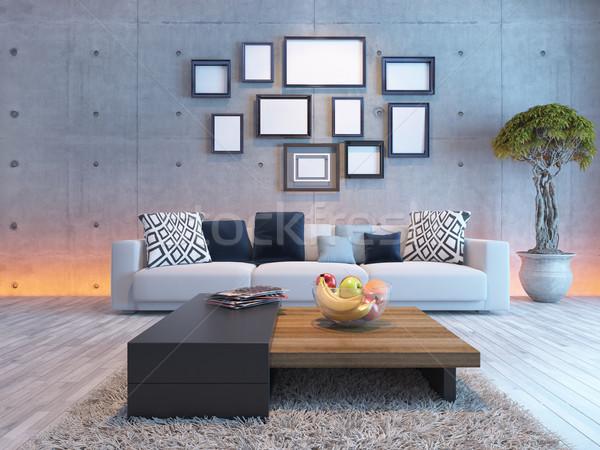 Stok fotoğraf: Oturma · odası · iç · mimari · beton · duvar · resim · çerçevesi · ışık