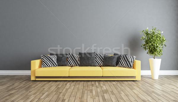 living room with grey wall interior design idea  Stock photo © sedatseven