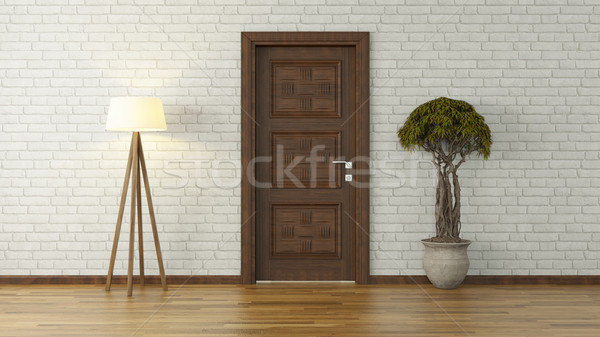 white brick wall with door and light 3d rendering Stock photo © sedatseven
