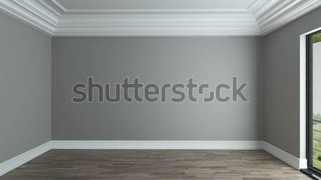 empty room interior background with curtain Stock photo © sedatseven