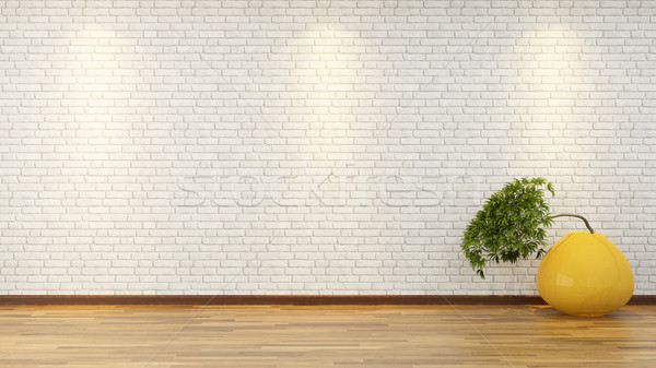 Fehér téglafal bonsai váza 3D renderelt kép Stock fotó © sedatseven