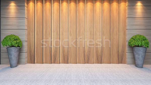Ahşap panel duvar dizayn modern Stok fotoğraf © sedatseven