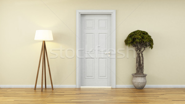 yellow wall with white door and plant 3d rendering Stock photo © sedatseven