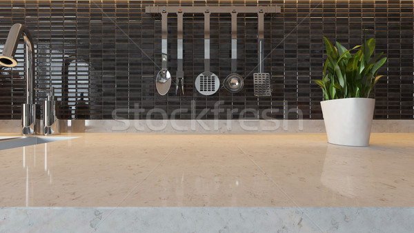 black ceramic modern kitchen design background with kitchen marb Stock photo © sedatseven