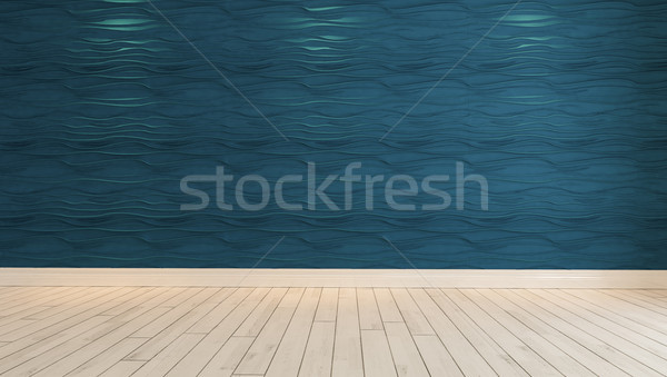 empty blue wave wall with spot light 3D rendering Stock photo © sedatseven