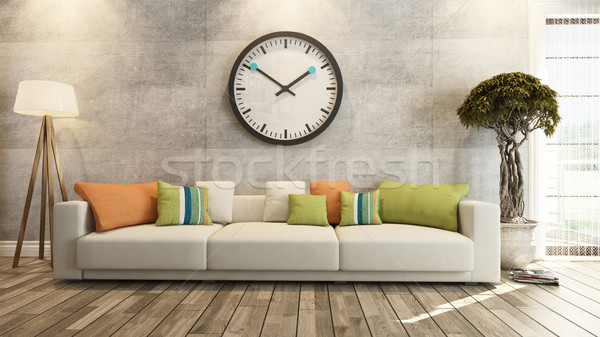 living room with big watch on concrete wall 3d rendering Stock photo © sedatseven