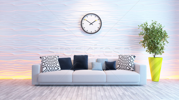 living room with big watch on white wave wall  Stock photo © sedatseven