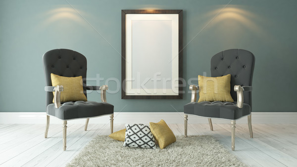 black picture frames with dark gray bergeres and light green pla Stock photo © sedatseven