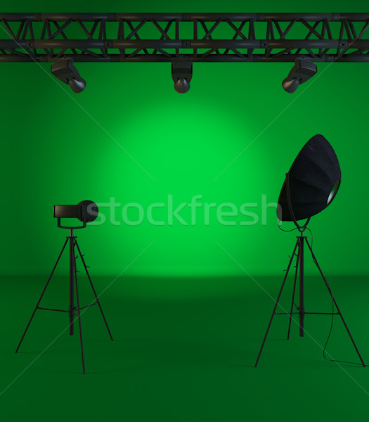 Jahrgang grünen Szene Baum Rampenlicht Wand Stock foto © sedatseven