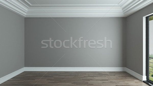 empty room interior background with decorative ceiling Stock photo © sedatseven