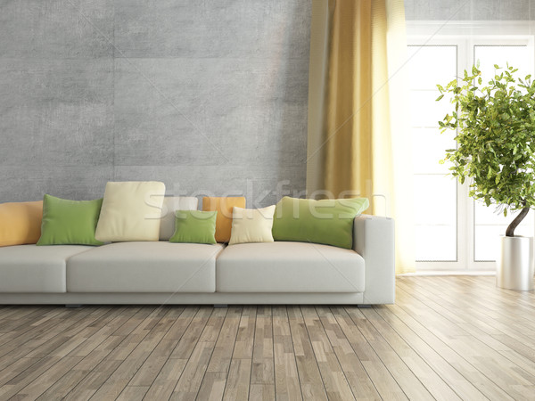 living room with concrete wall rendering Stock photo © sedatseven