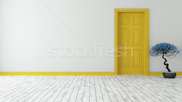 Karanlık sarı kapı duvar 3D model Stok fotoğraf © sedatseven