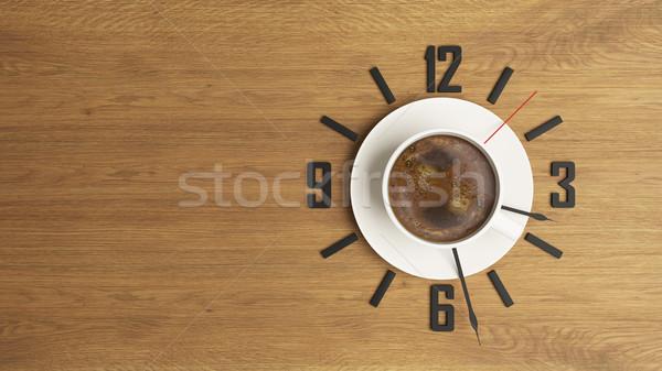 Kahve fincanı saat dizayn kahve zaman 3D Stok fotoğraf © sedatseven