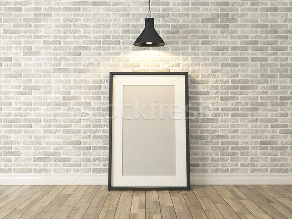 Resim çerçevesi beyaz tuğla duvar ahşap ahşap zemin spot Stok fotoğraf © sedatseven