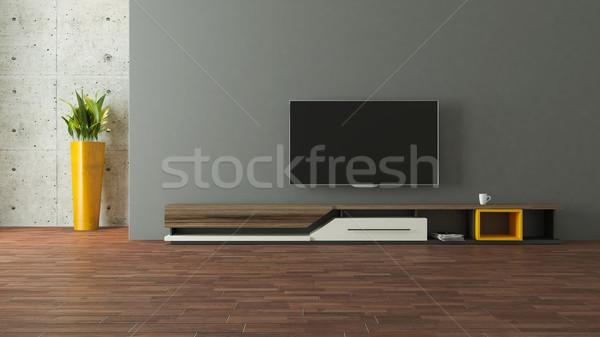 Stok fotoğraf: Modern · tv · durmak · duvar · dizayn · oda