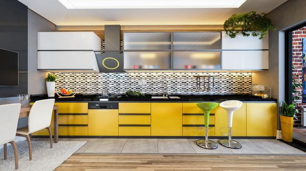 Sarı renk mutfak dizayn fikir Stok fotoğraf © sedatseven