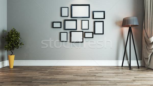 Oturma odası iç mimari fikir resim çerçevesi duvar Stok fotoğraf © sedatseven