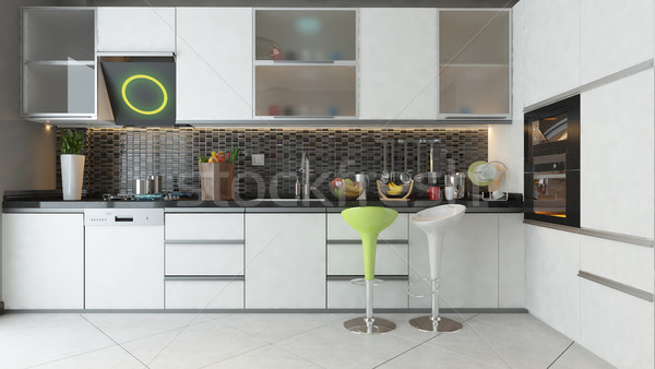 Stock photo: kitchen design with white color wooden furniture
