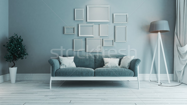 blue color living room with photo frame interior design idea Stock photo © sedatseven