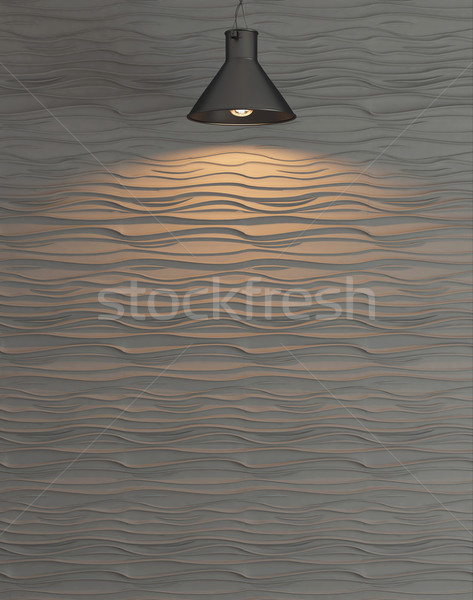 wave wall decoration rendering under the spot light rendering Stock photo © sedatseven