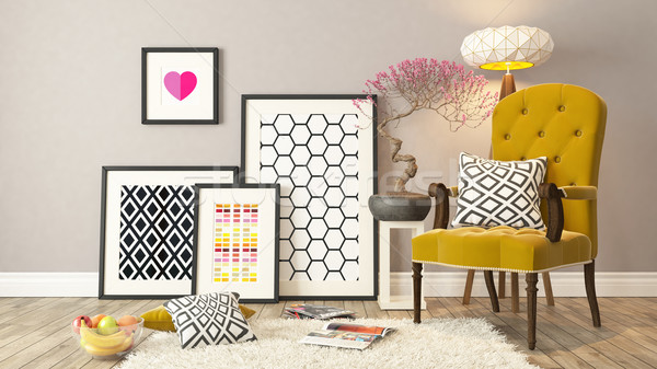Black picture frames decor with yellow bergere, background, temp Stock photo © sedatseven