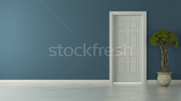 closed american door with blue wall and reflective floor Stock photo © sedatseven
