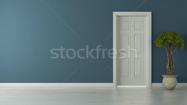 Chiuso americano porta blu muro Foto d'archivio © sedatseven