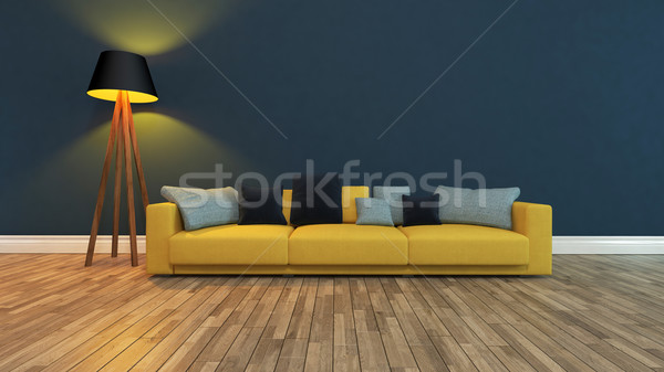 Koltuk karanlık mavi duvar 3D Stok fotoğraf © sedatseven