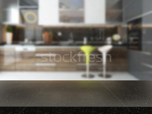 Boş siyah granit büro bulanık mutfak Stok fotoğraf © sedatseven