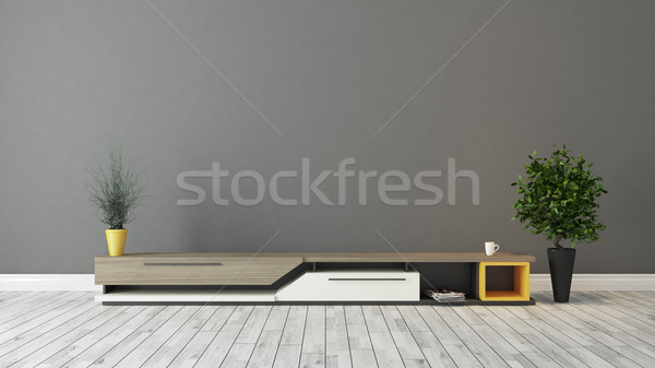modern tv stand with grey brown wall design  Stock photo © sedatseven