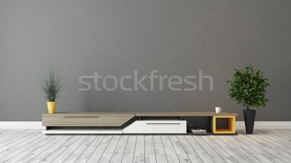 Modern tv durmak gri kahverengi duvar Stok fotoğraf © sedatseven