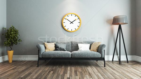 Oturma odası iç mimari fikir büyük sarı izlemek Stok fotoğraf © sedatseven