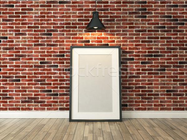 Marco de imagen pared de ladrillo piso de madera terreno luz rojo Foto stock © sedatseven