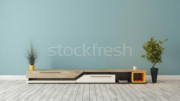 Modern tv durmak mavi duvar dizayn Stok fotoğraf © sedatseven