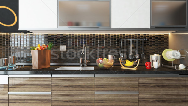 modern kitchen interior design with black ceramic wall Stock photo © sedatseven