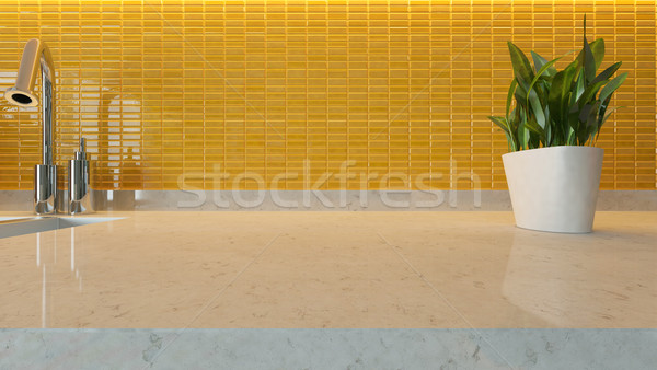 Sarı seramik modern mutfak dizayn mermer Stok fotoğraf © sedatseven