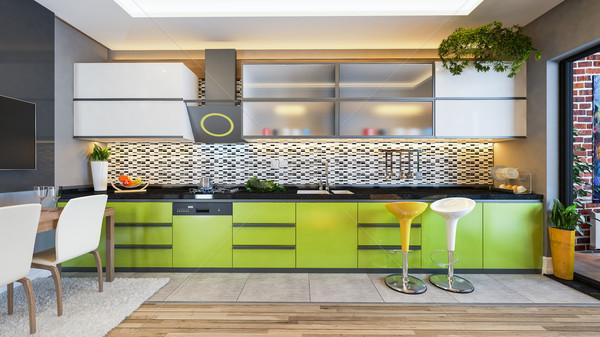 green color kitchen design decor idea Stock photo © sedatseven
