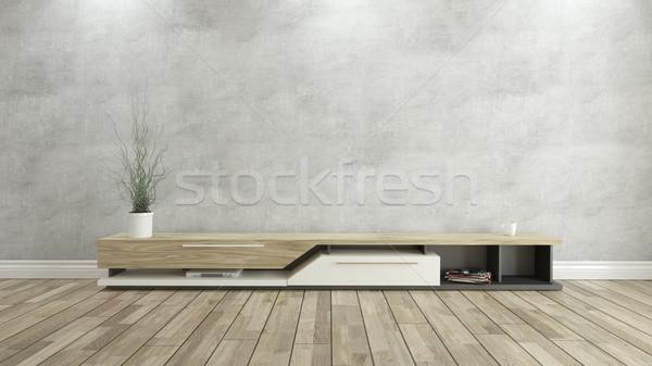 Tv durmak beton duvar 3D dizayn Stok fotoğraf © sedatseven